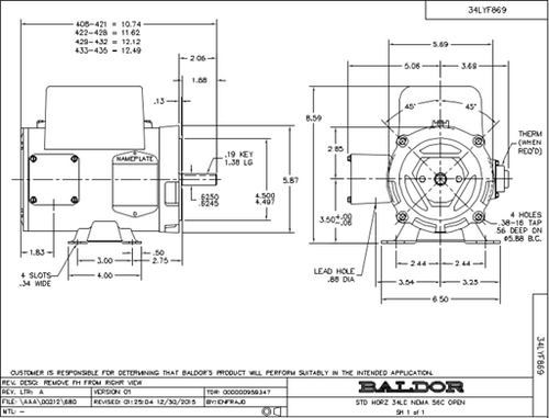 Baldor  CEL 11301 Single Phase 1/3 HP Motor
