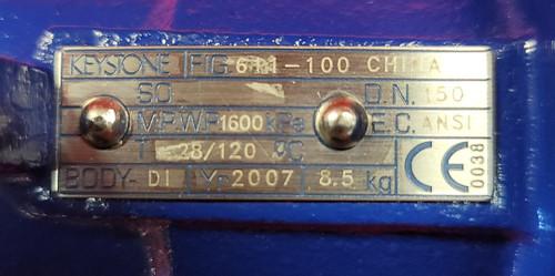 """Keystone 6"""" Lug Style Butterfly Valve - F611-100"""