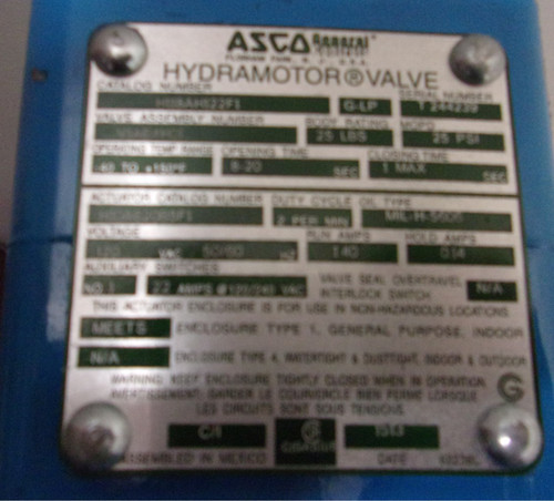 """ASCO SERIES 1 1/2"""" H118 Gas Shutoff Valves - H118AH122F1"""