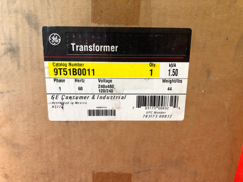 GE 9T51B0011 Transformer 1500VA 240/480VAC Primary 120/240VAC 1Phase