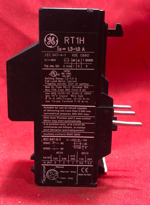 General Electric RT1H Thermal Overload Relay