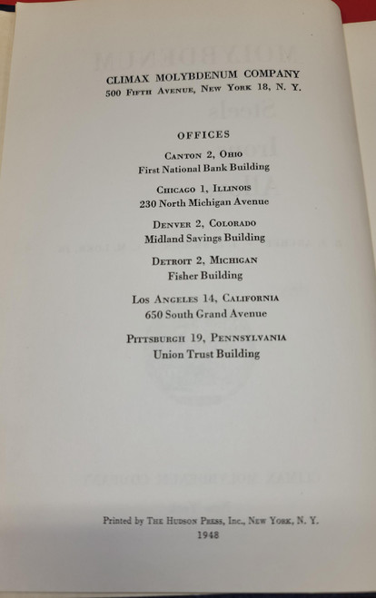 Molybdenum Book - Steels, Irons, Alloy First Edition (1948)