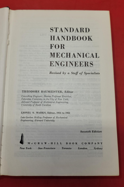 Standard Handbook for Mechanical Engineers Baumeister & Marks (1967)