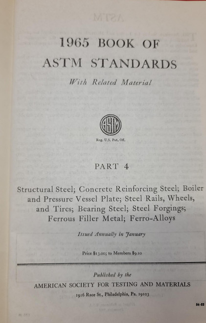 1965 Book of ASTM Standards Part 4