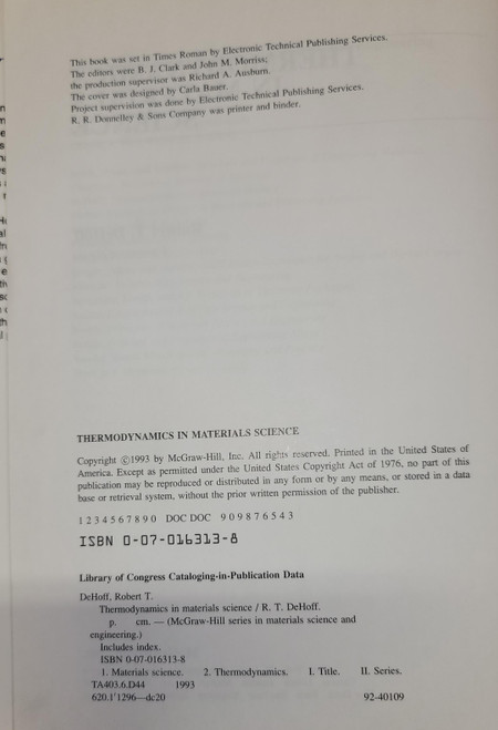 Thermodynamics In Materials Science (1993)