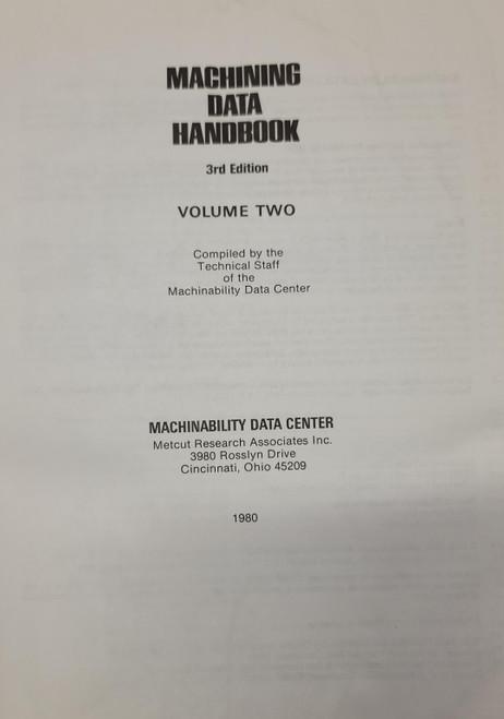 Machining Data Handbook Volume 2