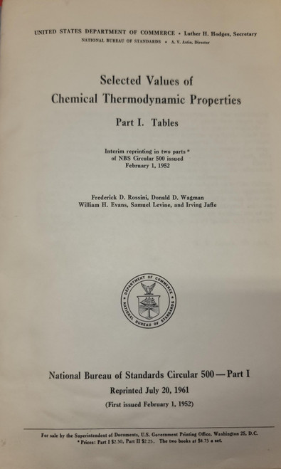 Selected Values of Chemical Thermodynamic Properties Part I Tables