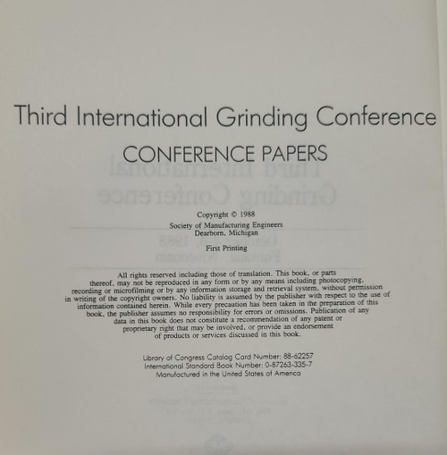 Third International Grinding Conference - Conference Papers