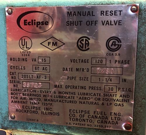 Eclipse 205LT-AF-3 Manual Reset Shut-Off Valve