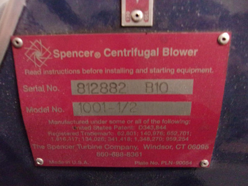 Spencer Centrifugal Blower With 1.5 HP Motor & Filter - 1001-1/2