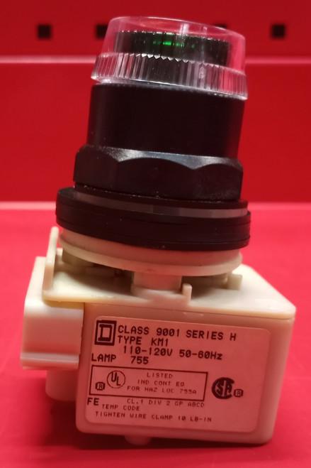 Square D Class 9001 Series H Type KM1 Illuminated Full Guard Push Button