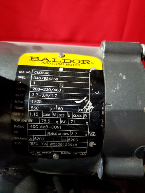 Baldor CM3546 AC MOTOR 56C 1725RPM 3PH 1HP 208-230/460V-AC