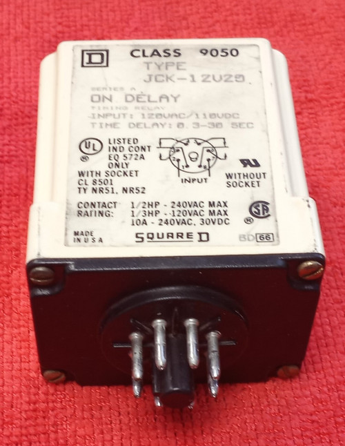 Square D JCK-12V20 Class 9050 series A Time Delay Relay