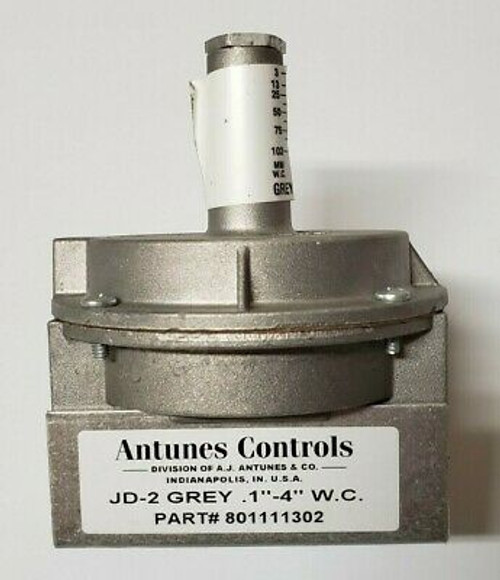 Antunes Controls 801111302 JD-2 Grey .1''-4'' W.C. Air Pressure Switch