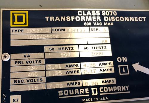 Square D SK5271U Transformer Disconnect