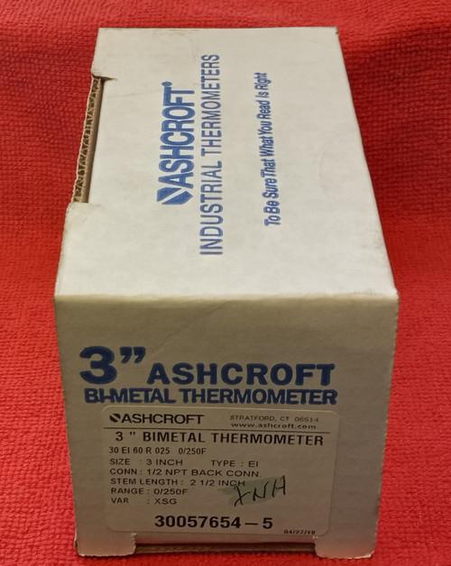 "Ashcroft 30EI60R025 0/250F 3"" Bi-Metal Thermometer"