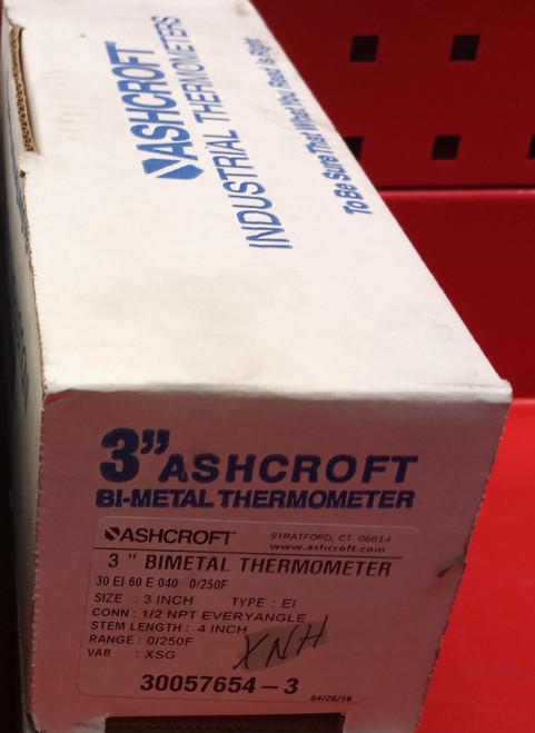 "Ashcroft 30EI60E040 0 /250° F 3"" Bimetal Dial Thermometer"