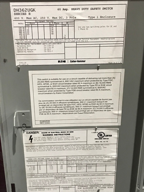 Eaton DH362UGK - 60 Amp 600v 3 Phase Non Fusible Safety Switch Disconnect