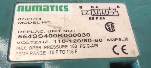 Numatics 228-717 Air Control Valve W/ Subbase