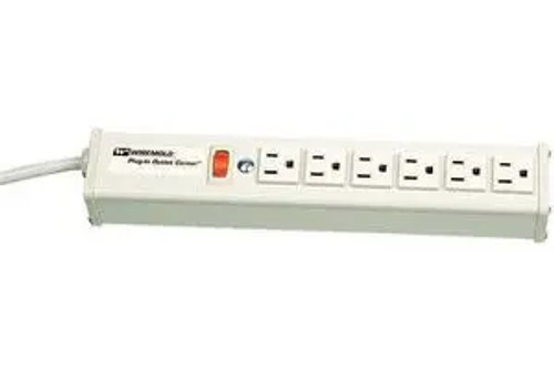 Wiremold R610 Power Strip - 6 Outlets, Panel Mnt