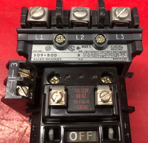 Allen Bradley 509-BOD w/3 Aux Contacts & W30 Heaters Starter (Used)