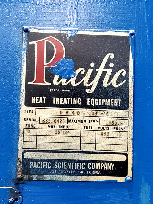 Pacific Scientific 30x48x30 1450°F Electric Temper (S/N 662-0420)
