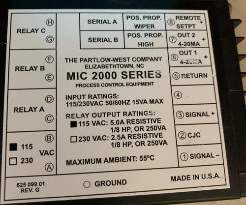 Partlow Process Controller MIC 2000 | Item # 2120101