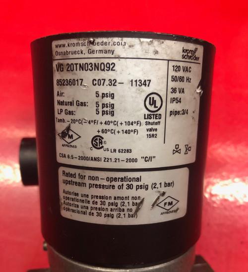 Kromschroder Gas Solenoid Valve VG 20TN03NQ92 (used)