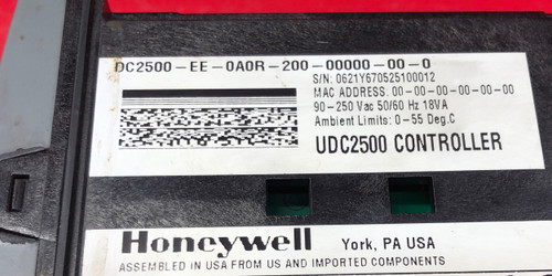 Honeywell Digital Temperature Controller (DC2500-EE-0A0R-200-00000-00-0)