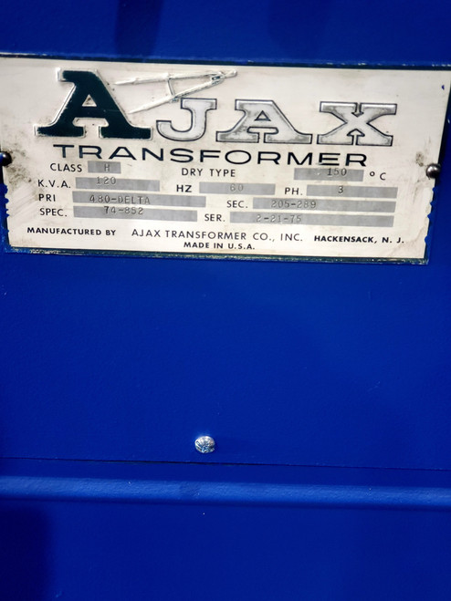 AJAX Transformer Model 74-852 120 KVA 480-Delta/205-289 VAC