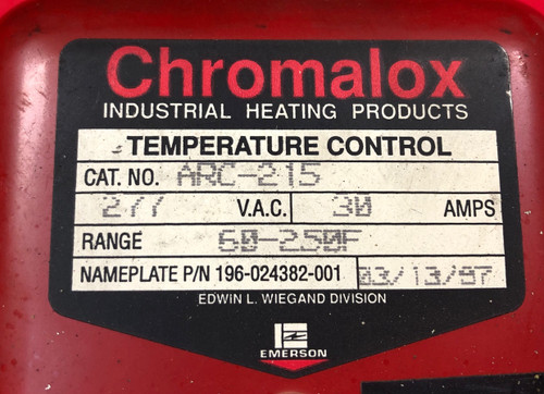 Chromalox ARC-215 Non-Indicating Thermal Cutout Temp Control