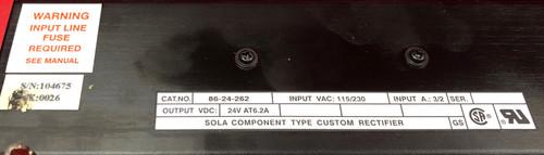 Emerson Sola 86-24-262 24V 6.2A DC Power Supply Custom Rectifier