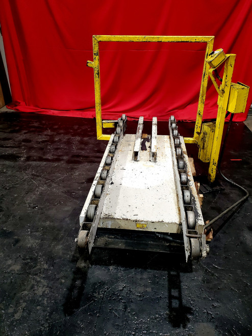 "Surface Combustion 30x48"" Roller Rail Scissor Table w/ Load guide"