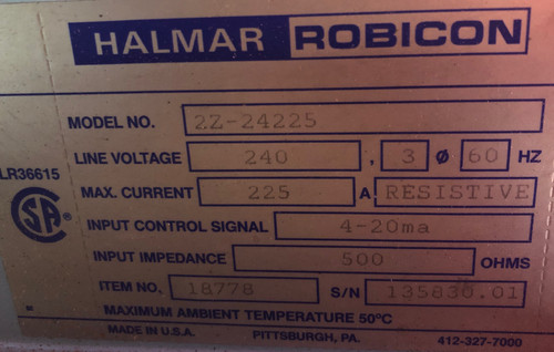 Halmar Robicon 2Z-24225 SCR Power Control