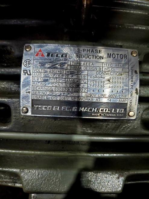 TECO 3A184C4001 AC 5HP 1750RPM 184T 4P 3PH MOTOR