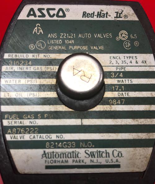 """Asco 8214G33 3/4"""" Normally Open, 0/5# Solenoid Vent Valve (120 V)"""
