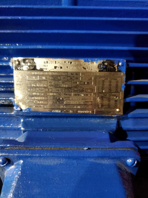 Worldwide Electric Motor WWE10-18-215T, 1760RPM, TEFC, Rigid, 3 PH, 215T