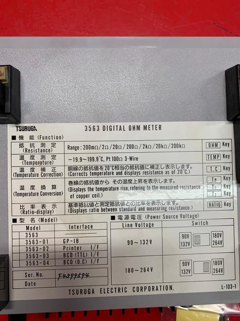 TSURUGA BT3563 Digital OHM Meter Bench-Top Tester