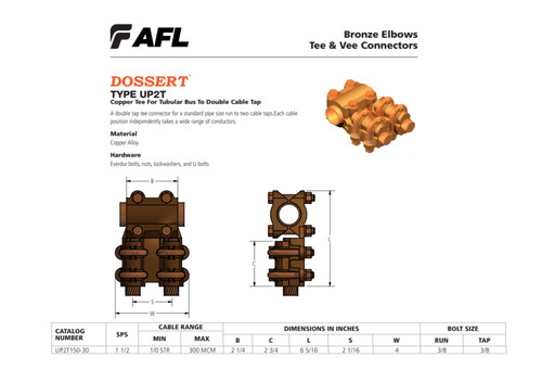 AFL Dossert UP2T150-30 Copper Tee For Tubular Bus To Double Cable Tap