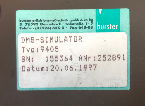 Burster Transducer DMS-Simulator, Model 9405, 350 ohm bridge.