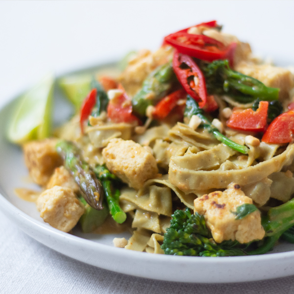 High Protein Satay Tofu and Edamame Noodles