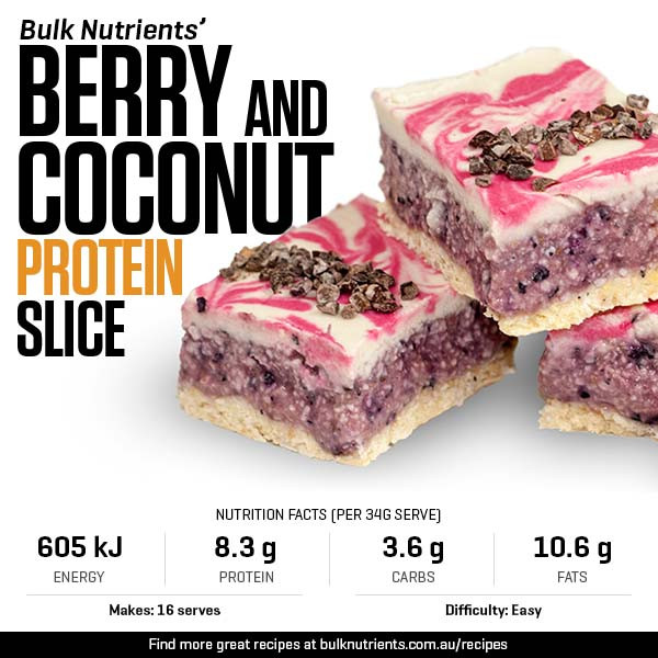 Berry and Coconut Protein Slice