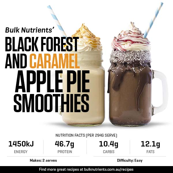 Black Forest and Caramel Apple Pie Smoothies