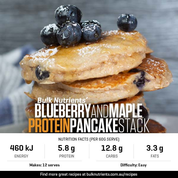Blueberry and Maple Protein Pancake Stack
