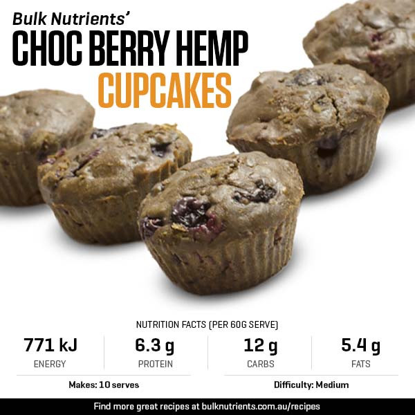 Choc Berry Hemp Cupcakes