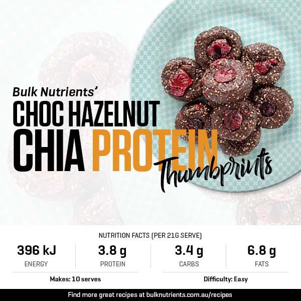 Choc Hazelnut Chia Protein Thumbprints