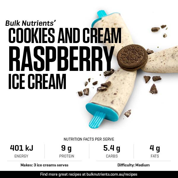 Cookies and Cream Raspberry Ice Creams