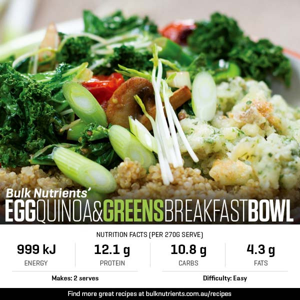 Egg, Quinoa And Greens Breakfast Bowl
