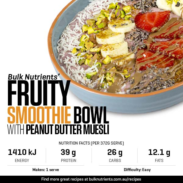 Fruity Smoothie Bowl With Peanut Butter Muesli