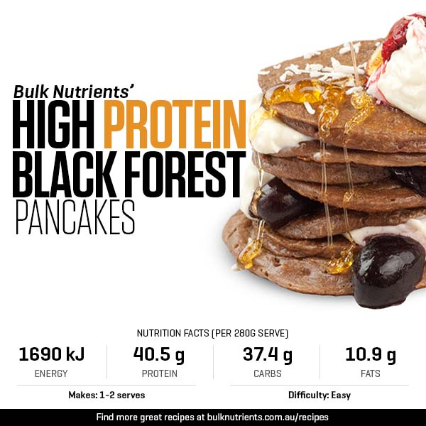 High Protein Black Forest Pancakes